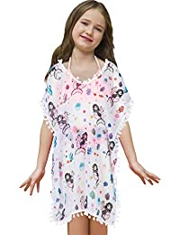Sylfairy Cover Ups for Girls Mermaid Swimsuit Swimwear Cover Up Kids Bathing Suit Beach Dress V-Neck Chiffon Cover-Up with Pompom Tassel(White with Mermaid,7-10Years)