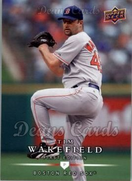 2008 Upper Deck First Edition # 183 Tim Wakefield Boston Red Sox (Baseball Card) Dean's Cards 8 - NM/MT Red Sox