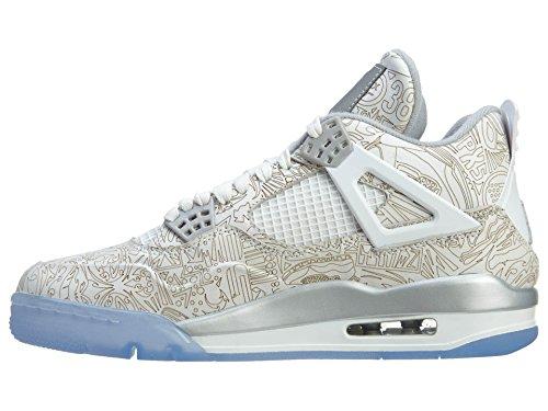Nike Hommes Air Jordan 4 Rétro Laser Blanc / Chrome-métallique Argent Chaussures De Basket En Cuir Blanc, Argent Chromé-métallique