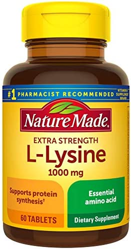 Nature Made Extra Strength L-Lysine 1000 mg Amino Acid, 60 Tablets Packaging May Vary