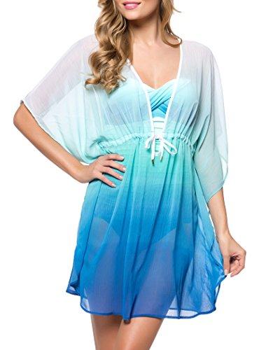 Bleu Rod Beattie Women's Fun in the Sun Tie Front Caftan Cover up, Bleu Multi, S
