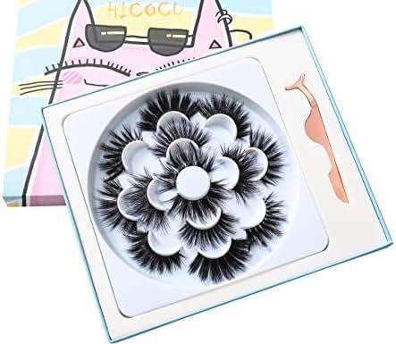 25mm Lashes Mink 7pairs Styles Faux Mink Eyelashes Dramatic Long False eyelashes With Tweezer