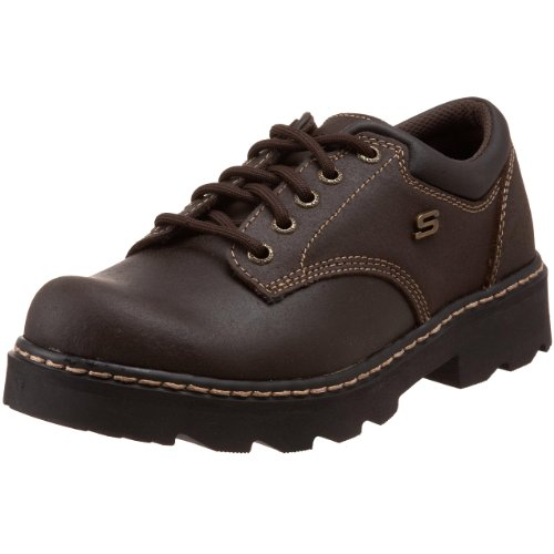 Leather Slip Oxfords - Skechers Women's Parties-Mate Oxford,Chocolate Suede Leather,7.5 M