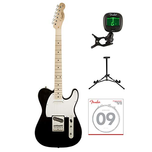 - Fender Squier Affinity Series Telecaster Electric Guitar with Tuner, Strings & Stand (Black)