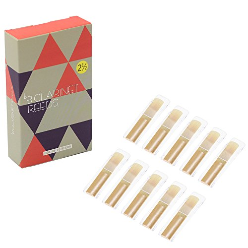 Kormest Clarinet Reeds Strength 2.5,Traditional Instrument Clarinet Parts,Box of 10 with Individual Plastic Case