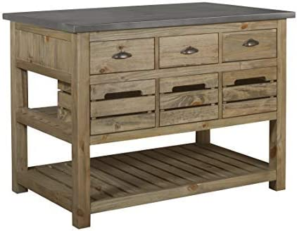 Crafters and Weavers Barlow Solid Wood Crate Kitchen Island
