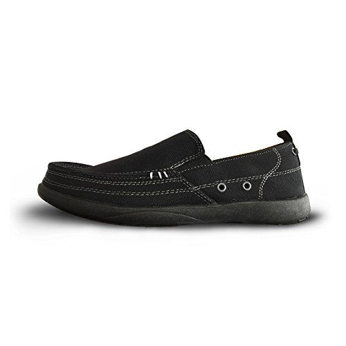 Audtee Men's Slip-on Cloth Shoes Canvas Loafers Outdoor Leisure Walking Driving Shoes (M9, Black)