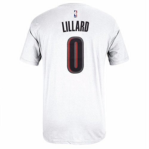 Damian Lillard Portland Trail Blazers NBA Adidas Men White Official Player Name & Number Jersey T-Shirt (XL)