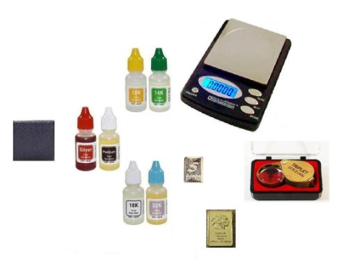 - Guaranteed Testing Equipment-PuriTEST Acids with Digital Coin Scale, Loupe and Silver & Gold Bullion Bars