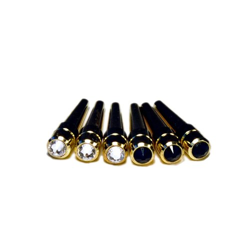 WE Games Brass Cribbage Pegs with Swarovski Austrian Crystals - Set of 6 (3 Black, 3 Clear)