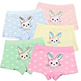 Auranso Girls' Panties Rabbit Soft Cotton Bunny Boyshort Baby Girls Underwear 5 Pack 3t-13t