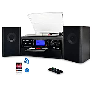 DIGITNOW! Bluetooth Viny Record Player, Turntable for CD, Cassette, AM/FM Radio and Aux in, USB port and SD Encoding, Remote Control, with Standalone Stereo Speakers