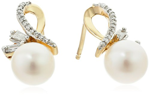 14k Yellow Gold Freshwater Cultured Pearl with Baguette Diamond Accent Stud Earrings (1/10cttw, I-J Color, I2-I3 (Baguette Diamond Unique Shapes Ring)
