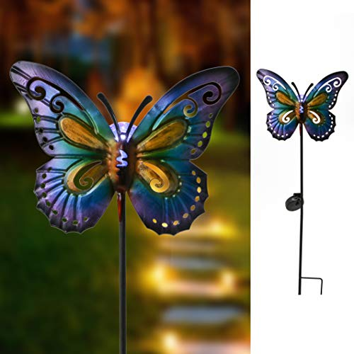 """Hannah's Cottage 28.7"""" Garden Solar Light, Metal Butterfly Waterproof Solar Powered LED Stake Lights for Walkway,Pathway,Yard Lawn,Outdoor Paradise (Purple and Blue)"""