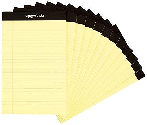 AmazonBasics Narrow Ruled 5 x 8-Inch Writing Pad - Canary (50 sheets per pad, 12 pack) - Office Basics