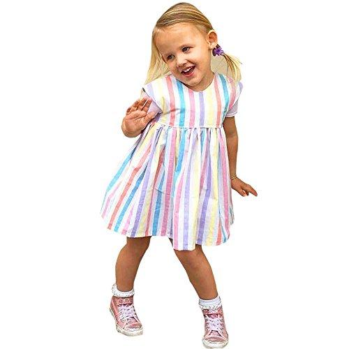 [해외]Botrong 신생아 유아 베이비 멀티 컬러 민소매 드레스 공주 스트라이프 파티 코튼 드레스/Botrong Newborn Infant Baby Multicolor Sleeveless Dress Princess Stri