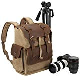 Endurax Canvas Camera Backpack for Photographers Waterproof for Men Women DSLR Camera Bag with 15.6 inch Laptop Compartment Vintage Durable Genuine Leather