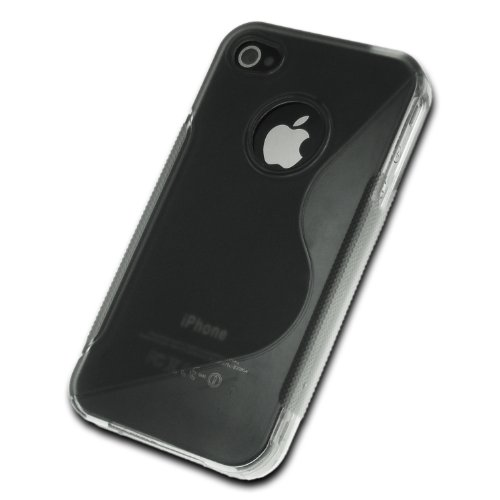 deinPhone - iPhone 4 4S Case Schutzhülle Schutz Handy Hülle Bumper Tasche Etui S-Line in Schwarz Transparent