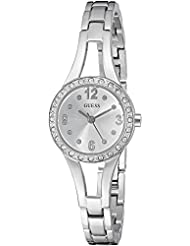 GUESS Womens Stainless Steel Petite Crystal Watch, Color: Silver-Tone (Model: U1034L1)