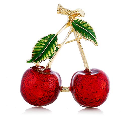 JczR.Y Cute Red Cherry Christmas Brooch Geometirc Green Leaf Tree Branch Brooch for Women Girls Fashion Party Weddings Banquet Jewelry Pins