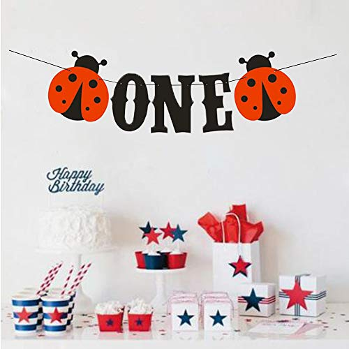 (Samahara Ladybug One Birthday Banner First Birthday Party Decoration Highchair Banner for 1st Birthday Girl Decorations )