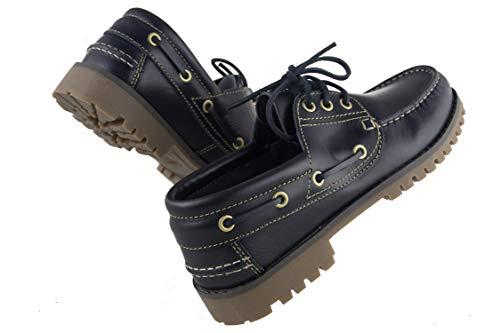 para Zerimar Azul Grandes Hombre Piel Náutico Navy Tallas para Hombre de Náutico Zapato Pz1qrwP
