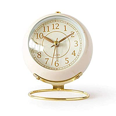 JUSTUP Small Table Clocks, Classic Non-Ticking Tabletop Alarm Clock Battery Operated Desk Clock with Backlight HD Glass for Bedroom Living Room Kitchen Indoor Decor (White) - UNIQUE STYLING DESIGN: Size:4.1*3.3*3 inch. Metallic iron look, well made, gold Arabic numbers, an awesome clear and simple style With metal base, looks conspicuous in your nightstand. SILENT: Non-ticking, quiet and smooth sweeping quartz movement and second hand, ensure a good sleep and best working environment. EASY TO USE: Easy to set the alarm and time on back of the clock. Number dial which is easy to read and button for backlight, simply press the button when staying in bed, time will be clearly visible at night. - clocks, bedroom-decor, bedroom - 41ZM442WsJL. SS400  -