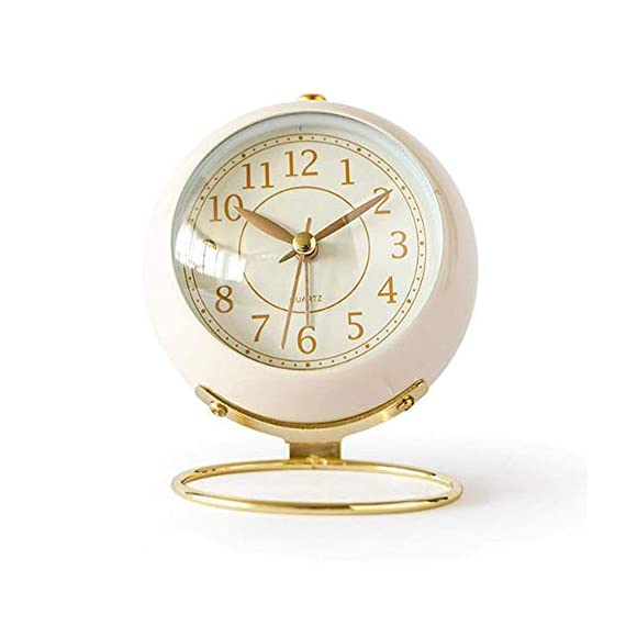 JUSTUP Small Table Clocks, Classic Non-Ticking Tabletop Alarm Clock Battery Operated Desk Clock with Backlight HD Glass for Bedroom Living Room Kitchen Indoor Decor (White) - UNIQUE STYLING DESIGN: Size:4.1*3.3*3 inch. Metallic iron look, well made, gold Arabic numbers, an awesome clear and simple style With metal base, looks conspicuous in your nightstand. SILENT: Non-ticking, quiet and smooth sweeping quartz movement and second hand, ensure a good sleep and best working environment. EASY TO USE: Easy to set the alarm and time on back of the clock. Number dial which is easy to read and button for backlight, simply press the button when staying in bed, time will be clearly visible at night. - clocks, bedroom-decor, bedroom - 41ZM442WsJL. SS570  -