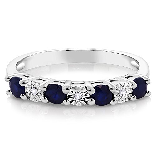 925 Sterling Silver Round Sapphire & White Diamond Engagement Ring (Available in size 5, 6, 7, 8, 9)