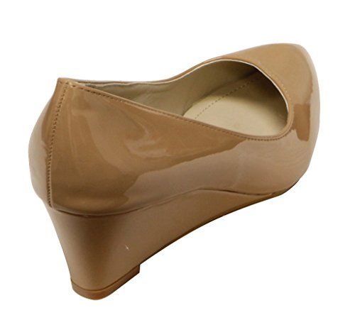 Bella Marie Kelsey-2 Donna Punta A Punta Cuneo Tallone Brevetto Slip On Pumps Scarpe Taupe