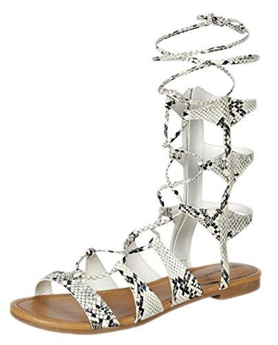 Breckelles Breckelles EA51 Women Leatherette Open Toe Gilly Tie Wrap Gladiator Sandal Snake RXt1M8u