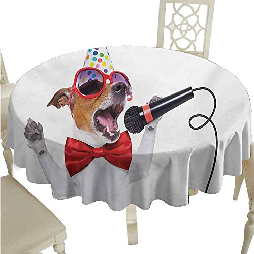 duommhome Popstar Party Waterproof Tablecloth Jack Russel Dog with Sunglasses Party Hat and Bowtie Singing Birthday Song Easy Care D43 - Table Mahogany Asian