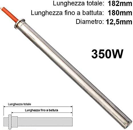 Easyricambi Resistencia de Encendido Estufa de pellets de 350W Larga 182mm y 180A La campaña A Favor de thermorossi