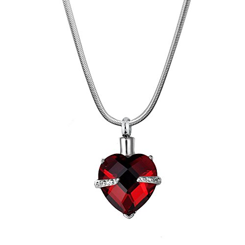 Anavia Engravable Crystal Birthstone Heart Cremation Memorial Jewelry Ashes Holder Stainless Steel Pendant Necklace (Jan - Garnet) -