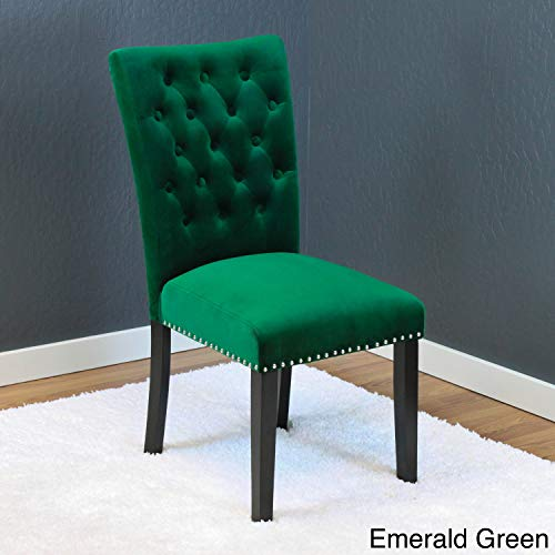 Cheap Monsoon Markelo Tufted Velvet Dining Chairs (Set of 2) Emerald Green