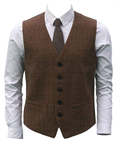 Ruth&Boaz 2Pockets 5Buttons Wool Herringbone Plaid Business Suit Vest (XL, Camel)