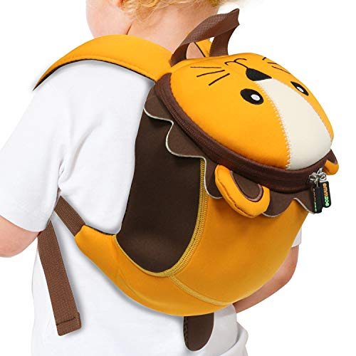 143469007ff1 Emmzoe Toddler 3D Animal Backpack with Detachable Safety Harness Leash -  Lightweight, Water Resistant, Adjustable - Fits Snacks, Food, Toys (Lion)