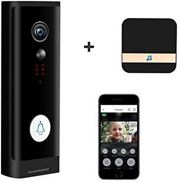 TUYAスマートビデオドアベル、1080P HD WIFIワイヤレスホームカメラビデオインターホンバッテリードアベル166度の視野角PIR移動,Doorbell + chime