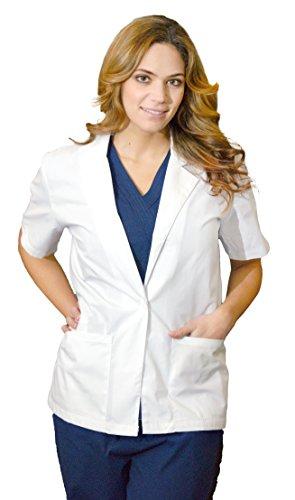 (Medgear Women's Short Sleeves Lab Coat, White (Small))