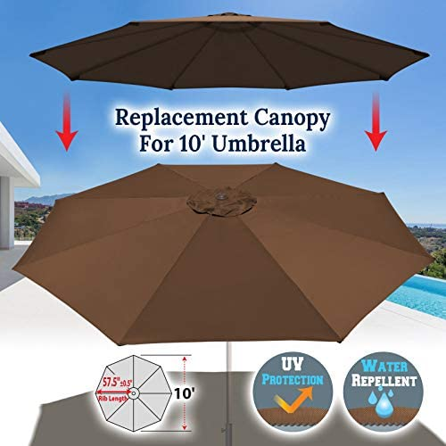 BenefitUSA UC-12 Canopy 10ft 8 Rib Patio Replacement Top Outdoor Brown Umbrella Cover