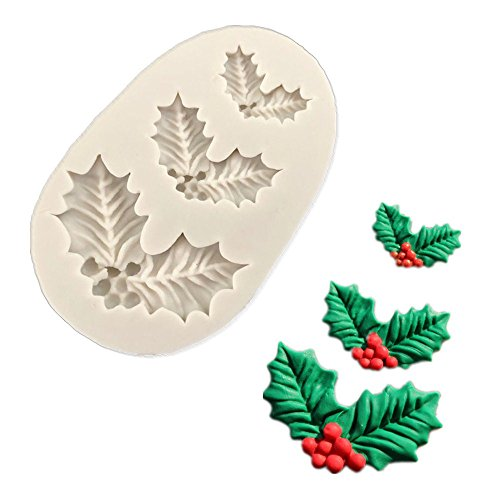 Anyana 3D mini Holly Leaf Christmas xmas mould cake Fondant biscuit gum paste silicone mold for Sugar paste forest gnome cupcake decorating topper decoration sugarcraft decor