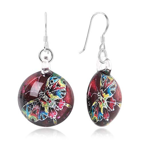 - Sterling Silver Hand Blown Glass Multi-Colored Butterfly Red Round Dangle Earrings for Women