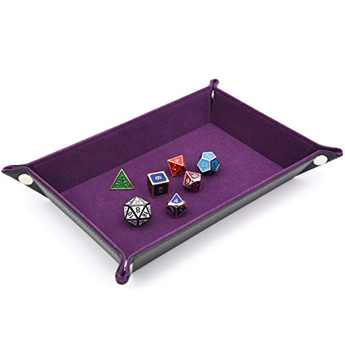 IvyFieldDice Dice Holder PU Leather Folding Rectangle Tray w/Purple Velvet for RPG, DND and Other Table Games ()