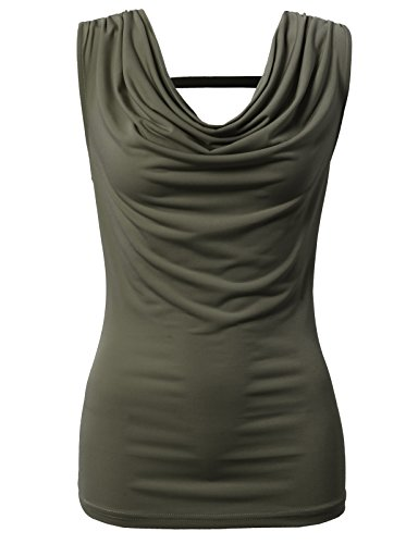 (H2H Women's Soft Travel Knit Cowl Neck Tank Top S-3X Olive US S/Asia S (CWTTK063))
