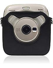 LHKJ Cameratas van PU leer retro beschermhoes met verstelbare schouderriem voor Fujifilm Square SQ20(zwart)
