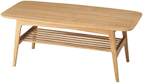 Azumaya Natural Ash Wood Coffee Center Table HOT-534NA Under Rack Storage KD Furniture