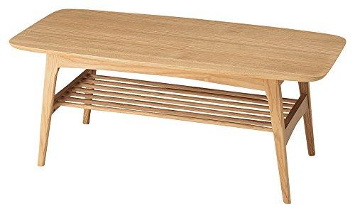 Azumaya Natural Ash Wood Coffee Center Table HOT-534NA Under Rack Storage KD Furniture