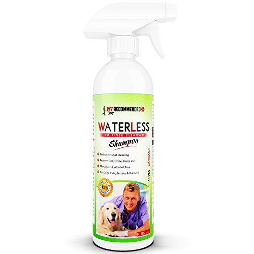 Vet Recommended Waterless Dog Shampoo - No Rinse Dry Shampoo For Dogs, Detergent And Alcohol Free, Apple Extract - Perfect For Spot Cleaning The Dog Coat - Made in the USA (16oz/473ml) by Vet Recommended