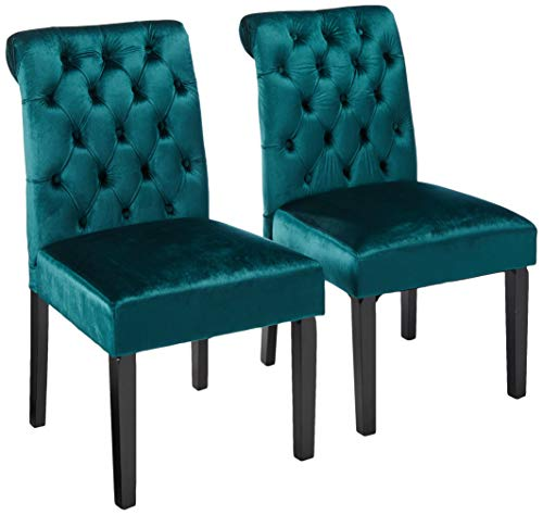 Christopher Knight Home 302603 Deanna Tufted Teal Velvet Dining Chair with Roll Top (Set of 2),