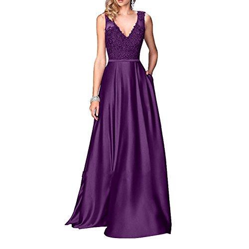 Rock Spitze Brautmutterkleider Lila Linie Abendkleider Partykleider Satin Festlichkleider mia Langes Brau Promkleider La A g7nAqXRw